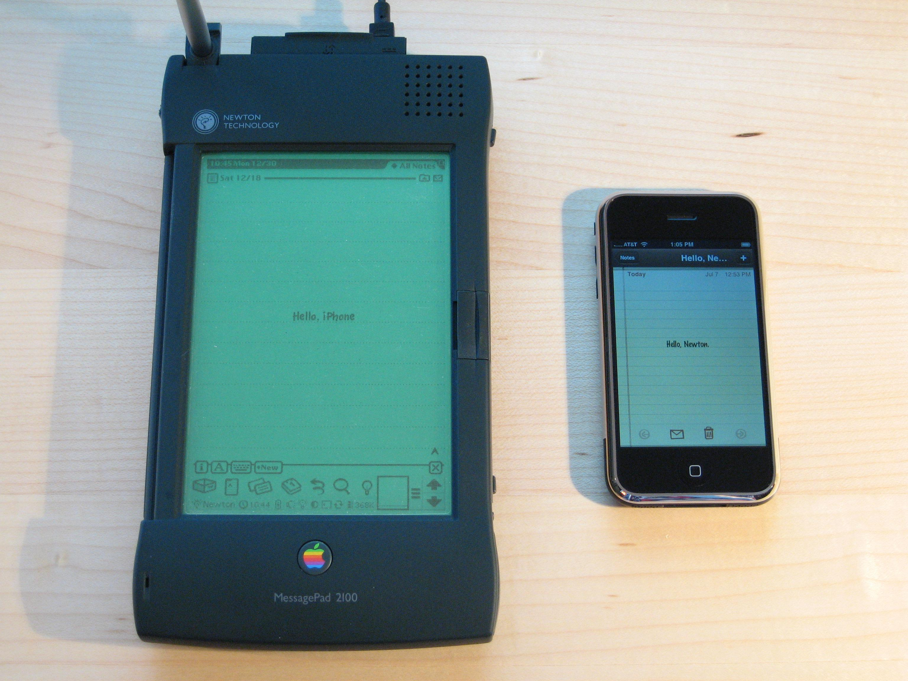 An Apple Newton MessagePad, an early mobile user of ARM technology, next to an iPhone, which also uses ARM. image via Wikipedia