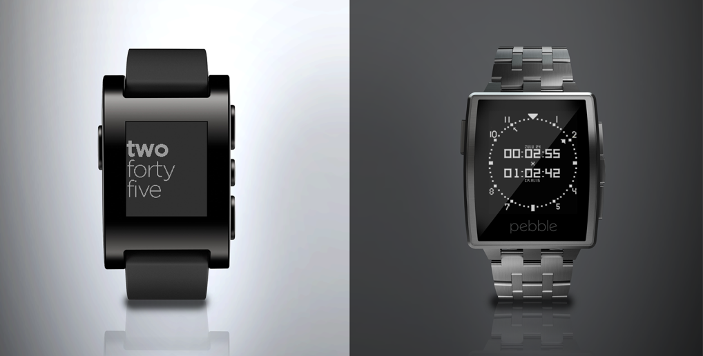 The original Pebble and the new Steel; image via Pebble
