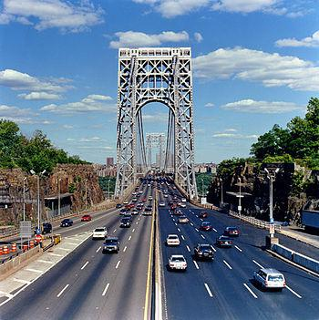 George Washington Bridge, view of the roadway ...