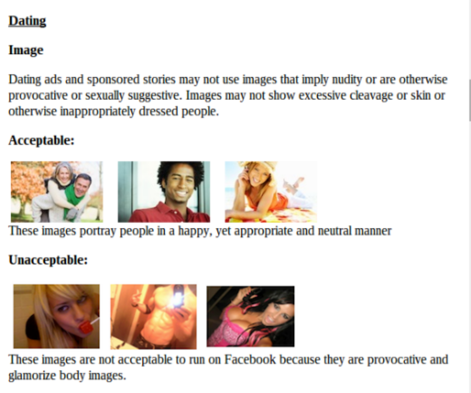 Facebook's guidelines for dating site images and a snapshot of online dating ads in my feed.