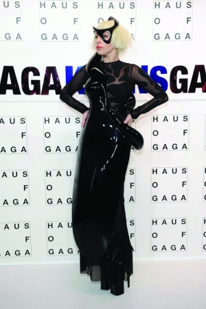 Lady Gaga in a parametric sculptured dress at the launch of her latest pop album