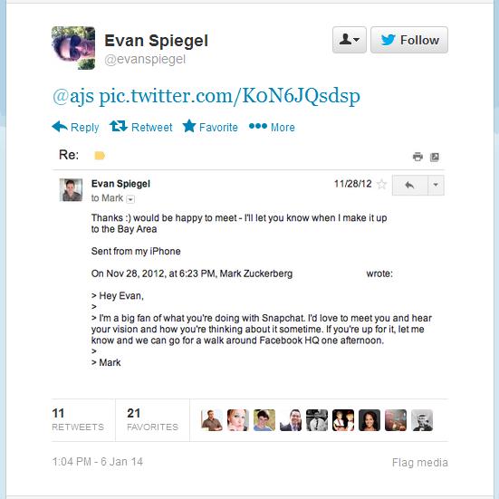 Twiiter Conversation Between Mark Zuckerberg and Evan Spiegel