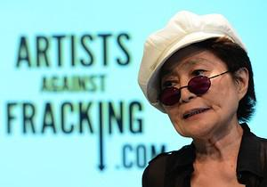 Artist Yoko Ono speaks during the launch of Ar...