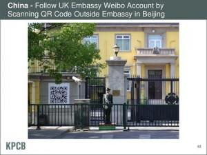 Meeker's PPT shows how users can scan QR codes to follow a Weibo account of the UK Embassy in Beijing