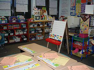 room of a first grade class in an elementary s...