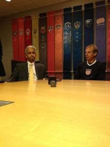 round table at Major League Soccer headquarters with USA coach Jurgen Klinsmann, Sunil Gulati, current president of the US Soccer Federation