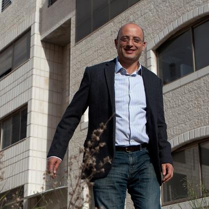 "One of the West Bank's top entrepreneurs, Tareq Maayah, CEO of Exalt Technologies, in front of his... [+] Ramallah headquarters. ""The norm has been that Palestinians buy goods and services from the Israelis, and what we are doing is reversing this in a good way for the Palestinian side,"" he says. ""We'd like the technology multinationals across the globe to realize that a lot can be done in Palestine. There's untapped potential."""