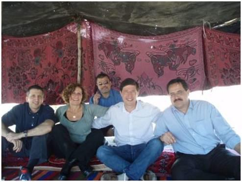 A closed military checkpoint forced Cisco-Israel execs to hold their first major meeting with... [+] Palestinian entrepreneurs in a tent rented from Bedouins at a gas station near the Dead Sea (photo courtesy of Cisco)