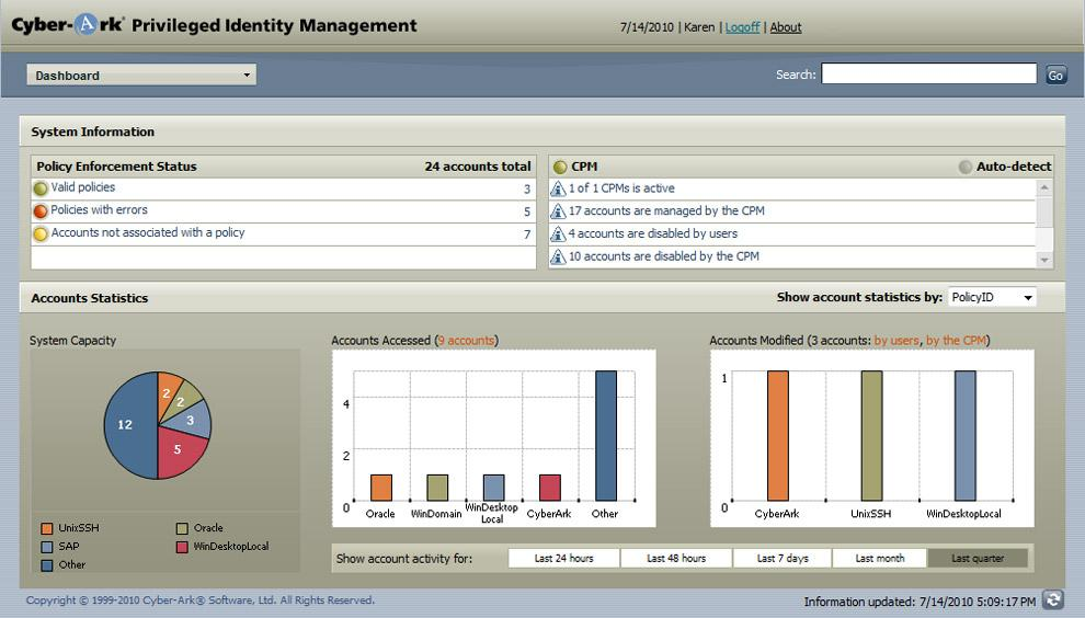screen shot of cyber-ark management console
