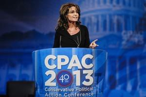NATIONAL HARBOR, MD - MARCH 16: Sarah Palin, f...