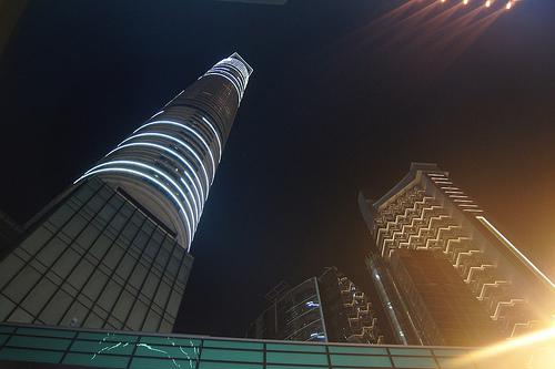 Skycrapers an lights in Hong Kong