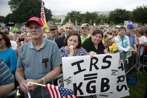 Demonstrators with the Tea Party protest the I...