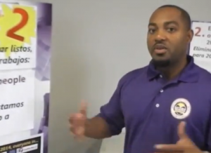 VIDEO: Elliot Perry, lead organizer at the Service Employees International Union-United Healthcare Workers of America, explains how insurance options will change under ACA. On August 10 2013, SEIU  organized an insurance enrollment event in east Los Angeles. Click the image to watch now.
