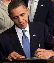 Barack Obama signing the Patient Protection an...