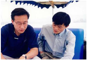 Alibaba vice chairman Joe Tsai, left, and chairman Jack Ma, right, together in Hangzhou in 1999.... [+] (Photo credit: Alibaba Group)