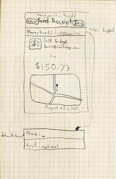 Ideas on paper: One of Jack Dorsey's early conceptual sketches for Square. (Photo courtesy of Square)