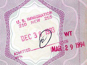 Stamp of the U.S. Immigration (Old French pass...