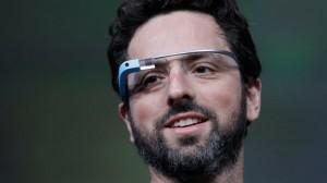 Google co-founder Sergey Brin demonstrates Google's new Glass, the wearable internet glasses shown at the Google I/O conference in San Francisco, June 27, 2012. (Paul Sakuma/AP)