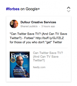 The following search result appeared on the top-right of the Google search results page when... [+] searching: #forbes. (Screen capture from Google.com)