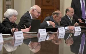 Yellen and her predecessors celebrating the Fed's centennial in December. (AP Photo/Pablo Martinez Monsivais)
