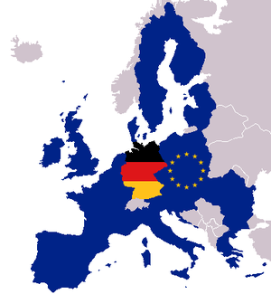 Map of Europe with flags of Europe and Germany...