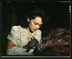 Woman aircraft worker, Vega Aircraft Corporati...