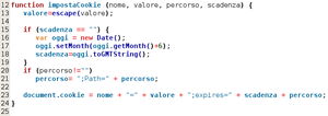 A simple JavaScript code snippet from Bluefish...
