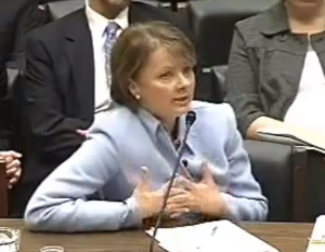 Angela Braly, then-CEO of WellPoint, testified before Congress about allegations that its California unit, Anthem Blue Cross, was raising premiums on some customers by more than 30 percent. Last week, California announced that the Affordable Care Act would increase non-group insurance premiums by as much as 146 percent. (Image courtesy U.S. House of Representatives)