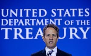 US Secretary of Treasury Timothy Geithner spea...