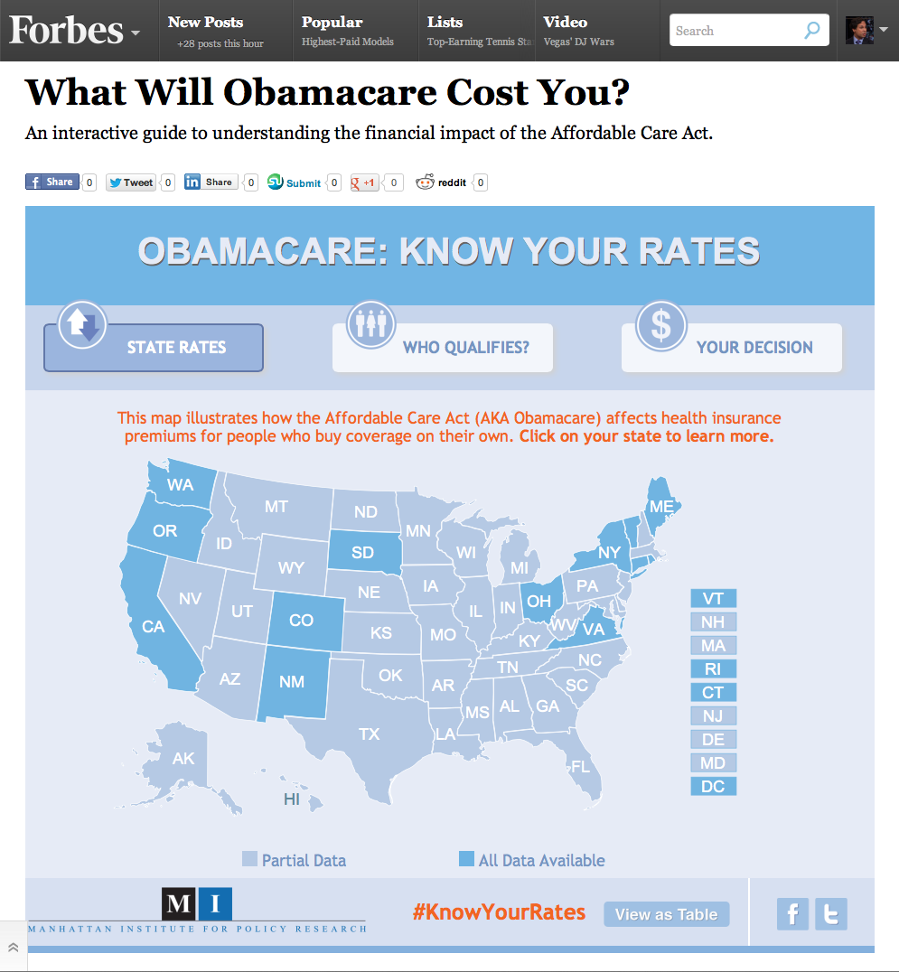 Click on the graphic above to visit the Obamacare Rate Map, an interactive guide to understanding... [+] the impact of the health law on insurance premiums in the individual market.