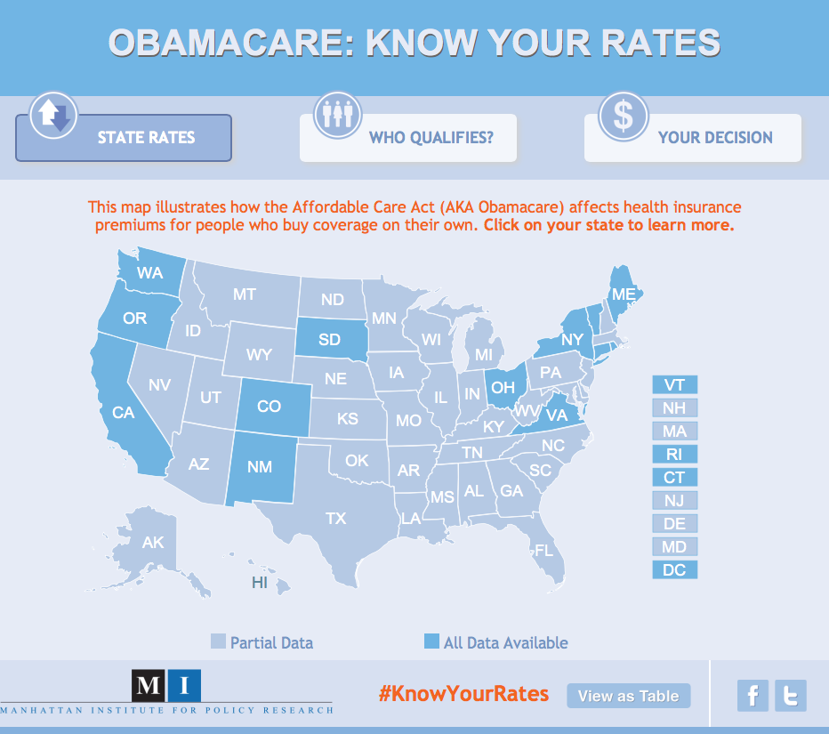 Interactive Map: In 13 States Plus D.C., Obamacare Will Increase ...