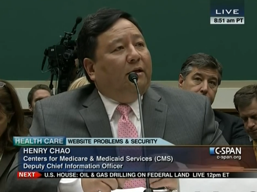 Henry Chao, deputy chief information officer at the Centers for Medicare and Medicaid Services, testifies before the House Energy and Commerce Committee on the troubled launch of Obamacare's federal health insurance exchange. (Photo credit: C-SPAN)