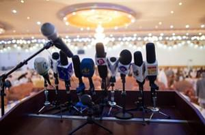 Microphones of Afghan media are pictured on a ...