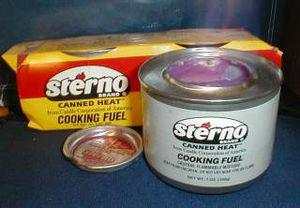 A can of Sterno aflame.