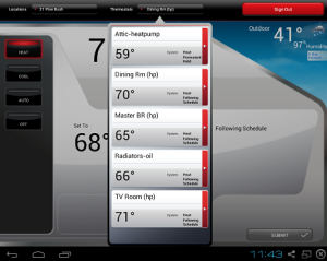 The Honeywell smartphone app for controlling my four Mitsubishi ASHPs and oil-fired boiler.