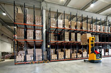 forklift at work in a warehouse