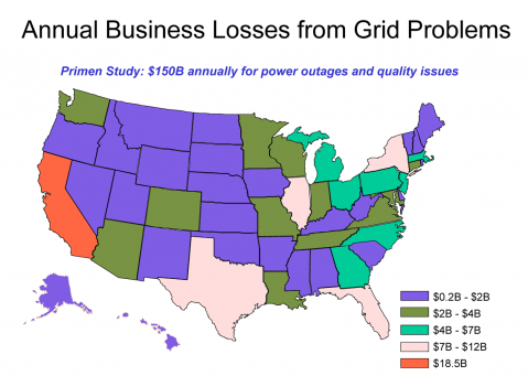 U.S. Map of Estimated Costs from Power Outages