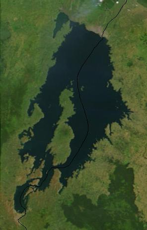 English: Lake Kivu, Africa, as seen from space...