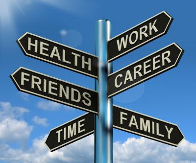 sign post with time family career health friends time work going in different directions.