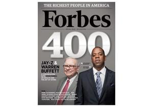 Jay-Z and Buffett on the cover of Forbes in 2010.