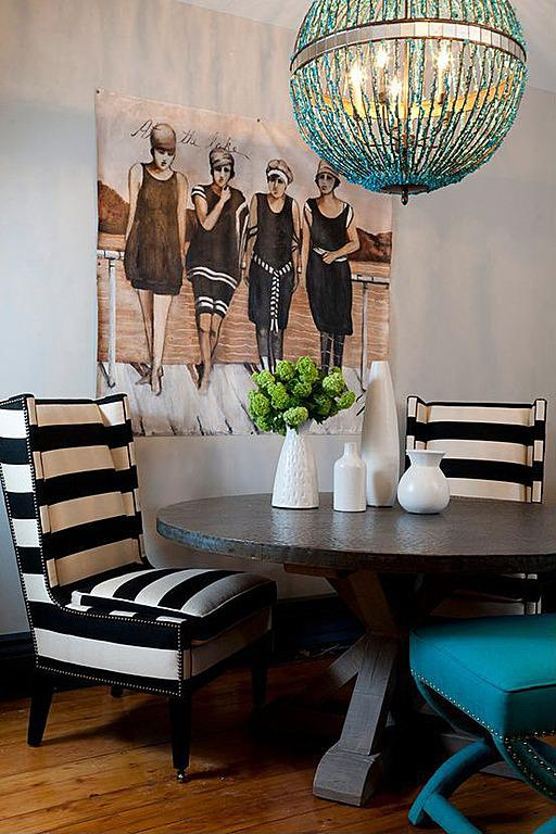Bold, black and white striped cushions are an easy way to update a space.