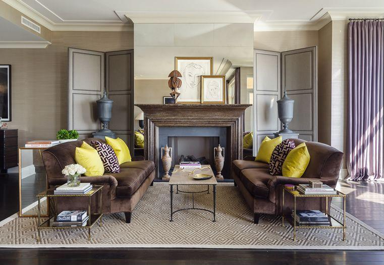 A rug defines the seating area in a room.